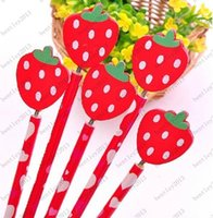 Wholesale 18cm Korea Wooden Pencil D Cartoon Strawberry novelty office school Pencil Gift