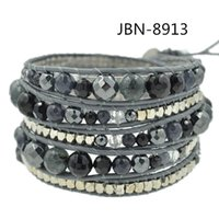 agate bangle - 2015 New arrival fashion jewelry leather weaving agate beads charm bracelets wrap bangles for women JBN