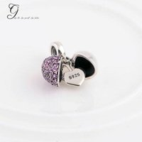Wholesale Fits Pandora Bracelets Love Beads Sterling Silver Half Purple gem Heart I Love You Charm Loose Beads For Diy Women Jewelry Accessories