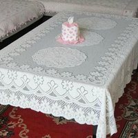 Wholesale White cm Flower Embroidery Table Cloth Crochet Square Tablecloth Rectangle Table Cover