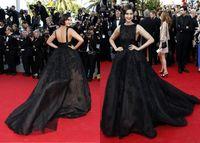 Cheap Sonam Kapoor 2015 Cannes Celebrity Dresses Elie Saab Evening Gowns Ball Gown Backless Court Train Black Applique Evening Prom Dresses