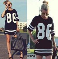 Summer Style T-shirt Femmes Celebrity Number 86 Print Tops Long Loose Hip Hop American Baseball Sports Tee Ladies Short Dress