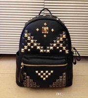 Wholesale 2015 High Quality New Brand MCM Backpacks Backpack Fashion Style Rivet Design with Zippers Color Over pc by EMS