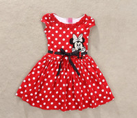 Wholesale Lowest Price New Baby Girl Summer Dress Girls Minnie Mouse Pink Red Dress Girl s Casual Party Dress Tutu Dot Dresses Girls Clothing