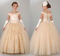 Cheap Pageant Dresses For Girls Teens Off Shoulder Appliques Lace Princess Flower Girl Dresses Champagne Children Lace Up Birthday Dress girl gown