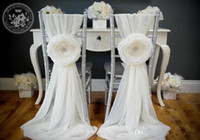 Wholesale 2015 White Wedding Decorations Chair Covers Sash for Weddings with Big D Flowers Chiffon Wedding Accessories