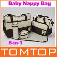 Wholesale 5pcs Multi Function Baby Diaper Nappy Bag Mummy Changing Set Handbag Freeshipping Dropshipping
