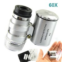 Mini joyero 60X microscopio del bolsillo de la joyería de la lupa de la lupa de luz LED de cristal