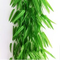 plastic rattan - Green Willow Rattan Wicker Bamboo Branch Leaf Simulation Leave Vine Hanging Home Decoration Artificial Flowers cm Leave