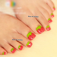 berry tip - x Girl Love Red Straw Berry Pre designed False Press on Toe Nail Tips