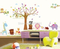 amazon tree wall decal - Funlife Extra Large Animal Forest Owl Giraffe Lion Tree Forest Amazon Hot Vinyl Mural Wall Sticker Paper Decal for Children