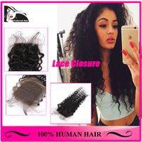 Wholesale 7A Lace Closure Bleached Knots Virgin Brazilian Hair Kinky Curl Lace Closure inch Human Hair Brazilian Lace Closure