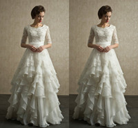 Wholesale Vintage Long Wedding Dresses A Line Scoop Half Sleeve Lace Applique Beads Crystals Tiers Plus Size Organza Beach Wedding Gowns