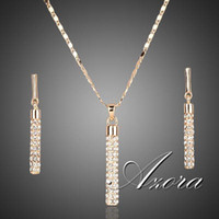 Wholesale AZORA K Real Gold Plated Stellux Drop Earrings and Pendant Necklace Jewelry Sets TG0007