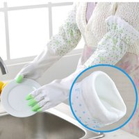 Wholesale pairs High grade Plus Celvet Cuffs Can Be Adjusted Rubber Gloves Lace Stitching Guantes De Latex Cleaning