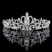 Silk Flower beaded crystal heart - Shining Beaded Crystals Wedding Crowns Bridal Crystal Veil Tiara Crown Headband Hair Accessories Party Wedding Tiara Hot