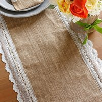 barn party - quot x108 quot Natural Jute Burlap Table Runner with Lace Scallop Edge Barn Rustic Wedding Bridal Shower Party Table