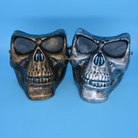 airsoft face shield - Funny Paintball Scary Airsoft Mask Skeleton Skull Masks Protective Games Battlefield Shield Halloween Cosplay Carnival New Year
