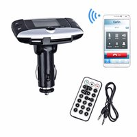 Wholesale New Handsfree Wireless Bluetooth Car Kit MP3 Player FM Transmitter Radio Adapter With LCD Remote Control For iPhone Samsung LG