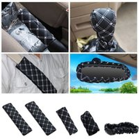leather seat cover - New Handbrake Grips Shift Car Seat Belts Padding Rearview Mirror Microfiber PU Covers Set Cover Case