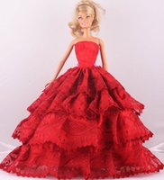 Wholesale New Fashion Handmade Red Third tier Lace Wedding Dress Clothes Gown For quot Barbie Doll D1025