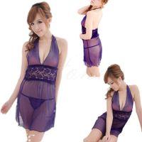 Wholesale Sexy Women Ladies Deep V neck Babydoll Sleepwear Backless Nightwear G string