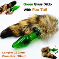 adult male cat costume - w1022 Green crystal anal dildo pyrex glass butt plug with to fox cat tail adult game costume masturbation sex toys for women men gay