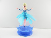 Wholesale 2014 New Flying Infrared Induction LED Frozen Doll Frozen Princess Toys Theme Music Elsa Anna Dolls Party Toys Brinquedos Kids Girls
