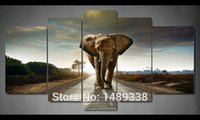 Cheap 5 Panel Elephant Painting Wall Art Picture Home Decoration Living Room Print Painting Modern Canvas Prints Framed Art F 463