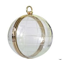 Wholesale 2016 European fashion handbags acrylic transparent globe small bag diagonal shoulder ladies evening bag