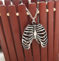 anatomical human skeleton - 2016 NEW Fashion exaggeration Anatomical Human Rib Cage Necklace Couples necklace
