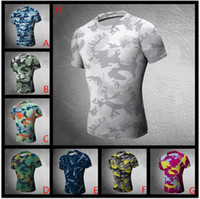 Wholesale Hot Skinny Compression camouflage Shirts Runing basketball Training tight Shorts Workout fitness t shirt Gym tees Men s Clothing mix order