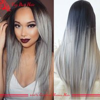 Wholesale Grade A Brazilian Silver Human Hair Lace Front Wig Ombre b Grey Two Tone Glueless Silky Straight Full Lace Wig for women