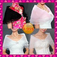 Wholesale In Stock White Ivory Pink Black Organza Bridal Wraps Jackets Women Formal Evening Chinese Wedding Dresses Cheongsam Dresses Wrap Shawls