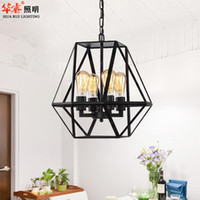 CCC antique style chandeliers - Industrial Style Antique Wrought Iron art Birdcage Pendant Lighting Loft Industrial Style E27 Edison bulb chandelier Living Room Study Lamp