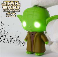Wholesale Star Wars Darth Vader Yoda Master LED Luminous Keychain Cute Cortoon Star Wars Galactic BattleGrounds Saga Chain Key Pendant