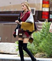 Wholesale 2014 New Fashion Women Shawls Top Design Blanket Scarves Wraps Poncho Dessign Patchwrok Wool Plain Cape For Ladies Poncho
