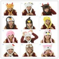 Wholesale 2014 New cute cartoon animal hat long fluffy plush winter cap D earmuff headgear dance party beanie hats caps props fur