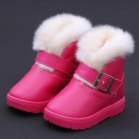 Wholesale new PU leather Velcro slip waterproof snow boots wool children years old shoes kids warm winter shoes for girls boys