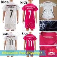 pink jersey - Kids Reals Madrid Jersey Black Dragon Pink White Children Soccer Kits KROOS RONALDO JAMES Spain Madrid Kid Shirts