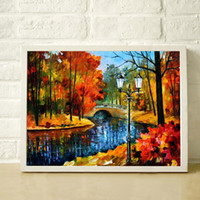 Wholesale Bridge river lights Thick High Quality Hand Painted Oil Canvas Palette Knife Painting JL