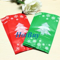 Wholesale 100Pcs Long Section Christmas Tree Cookie Candy Bag Gift Bags Christmas Decoration