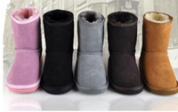 Wholesale 2016 XMAS GIFT Australia brand Snow boots boy girl real cowhide boots waterp roof warm children s boots Fashionable boots for Kids boots