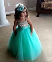 Wholesale 2015 Mint Green Flower Girl Dresses Spaghetti Straps Rhinestone Beaded Full Length Lovely Ball Gown Girl Party Pageant Dress