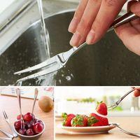 Wholesale 50pcs Mini cm Stainless Steel Fruit Forks Dessert Cake Cutlery Café Bar Restaurant Flatware os186