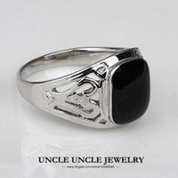 Wholesale For Man K White Gold Plated Black Onyx Enamel Craft Classic Rectangle Retro Finger Ring KRGP