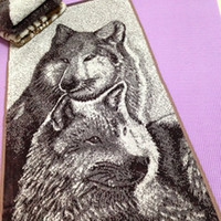 Wholesale 100 Cotton Terry Towel Velour Cut Pile Wolves Dancing with Wolf Men Gift Soft Super Absorb Strands Jacquard Washcloth Face Towels