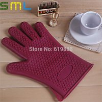 Wholesale Insulated Gloves Silicone Anti scald Gloves Pliable Pot Holder Oven Mitts Cooking Tools SML137
