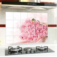 Wholesale 28 quot x17 quot Flower Cartoon Cat Kitchen Wall Stickers Home Decor Art Decals Oil Proof