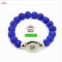 best polymer clay - fashion jewelry Women s Polymer Clay Ball Beads Rhinestone Studded Snap Button Elastic Bracelet Azure bracelets for women and men best gifts